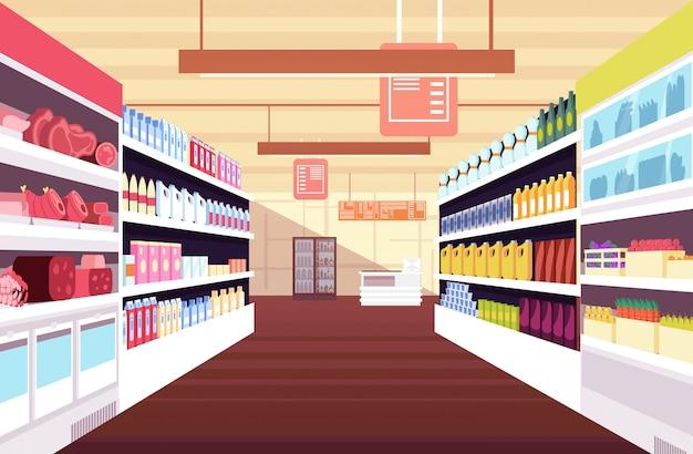Lebensmittelgeschäfts-supermarktinnenraum mit vollen produktregalen. Premium Vektoren