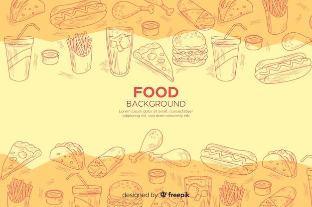 Lebensmittelhintergrund in der flüchtigen art Kostenlosen Vektoren