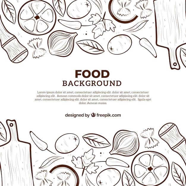 Lebensmittelhintergrund mit flachem design Kostenlosen Vektoren