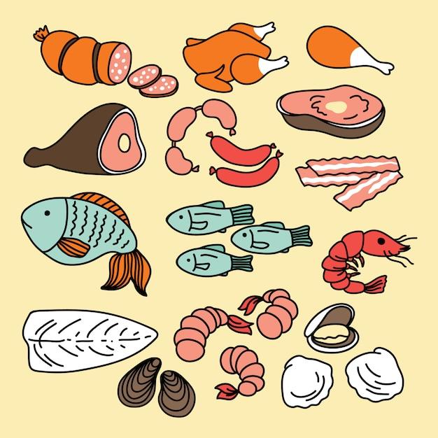 Lebensmittelikonen. fleisch- und fischset Premium Vektoren