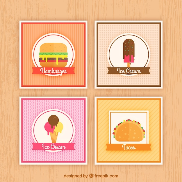Lebensmittelkartensammlung mit flachem design Kostenlosen Vektoren