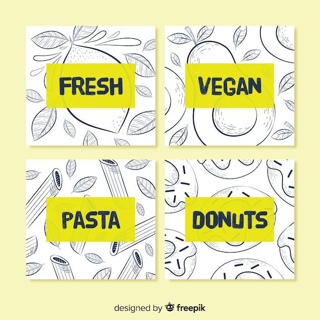 Lebensmittelkartensammlung Kostenlosen Vektoren
