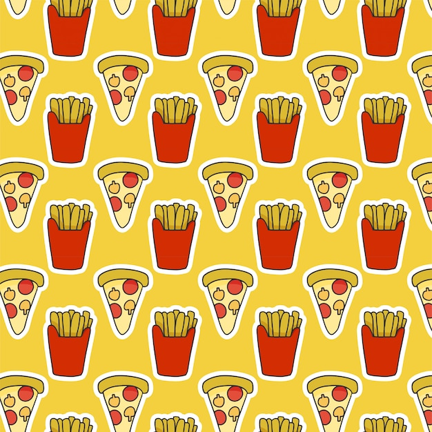 Lebensmittelmuster mit pommes-frites und pizza Premium Vektoren