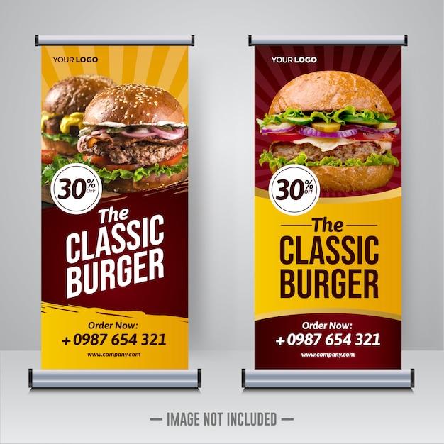 Lebensmittelrestaurant rollen oben fahnenschablone Premium Vektoren