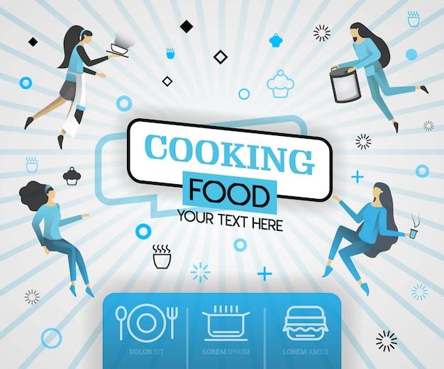 Lebensmittelrezepte und blaue abdeckung kochen Premium Vektoren