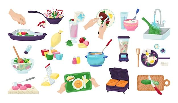 Lebensmittelzubereitungssatz von küchenkoch- und essenszubereitungshänden, illustration. rezepte mit lebensmitteln und küchenutensilien, utensilien und gehacktem gemüse. chef restaurant menü, fleisch, salat Premium Vektoren
