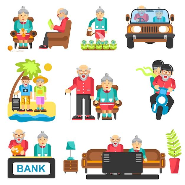 Lebensstil-vektorflache ikonen der älteren leute Premium Vektoren