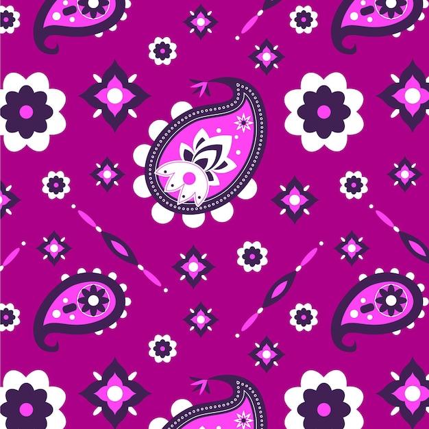 Lebhaftes violett gefärbtes paisley-bandana-muster Kostenlosen Vektoren