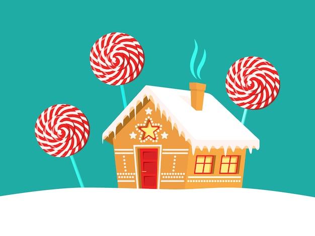 Lebkuchenhaus und lutscherbäume herum. weihnachten, neujahr, winterurlaub karte Premium Vektoren