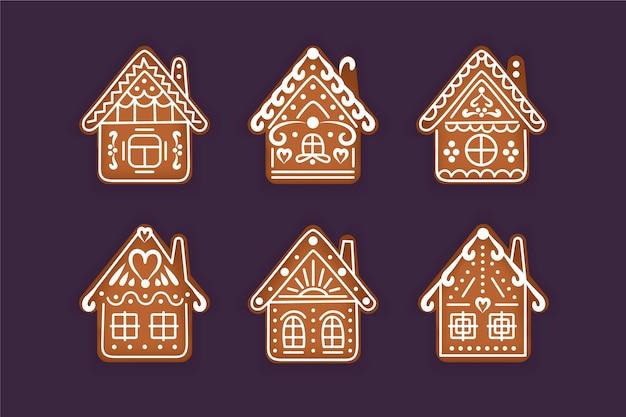 Lebkuchenhaussammlung im flachen design Kostenlosen Vektoren