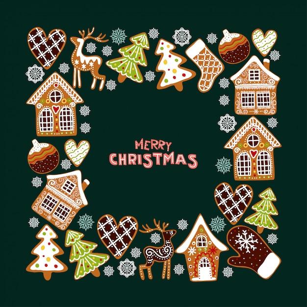 Lebkuchenplätzchen-hintergrundrahmen. weihnachtsgrußkartenschablone. Premium Vektoren