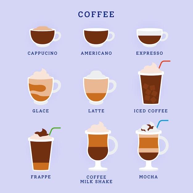 Leckere aromatische kaffeesorten Kostenlosen Vektoren