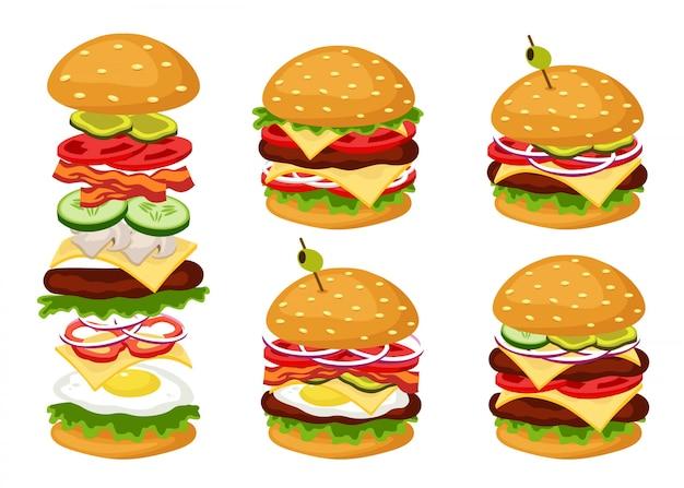 Leckere hamburger gerichte mit verschiedenen zutaten Premium Vektoren