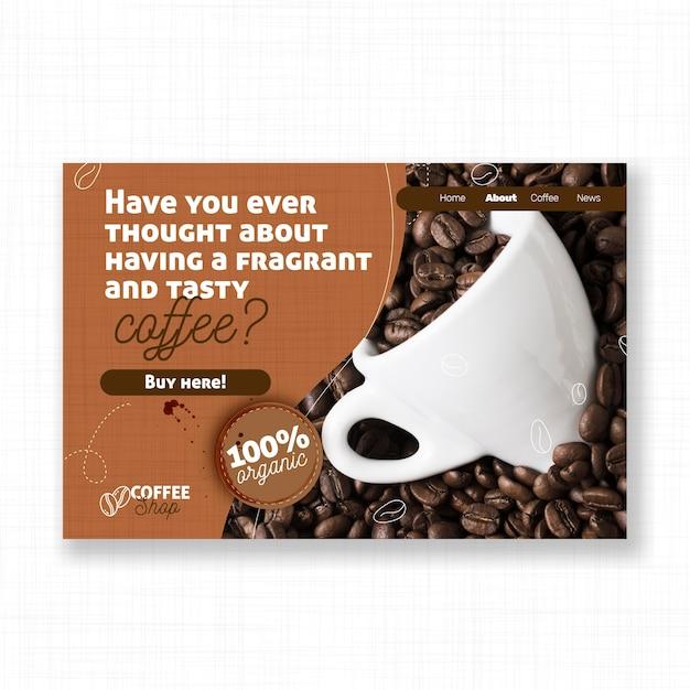 Leckere kaffee-landingpage-vorlage Kostenlosen Vektoren