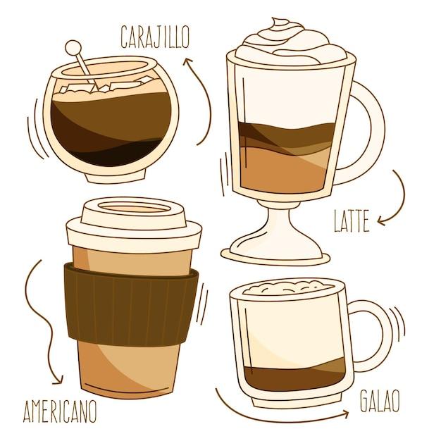 Leckere kaffeesorten in verschiedenen tassen Kostenlosen Vektoren