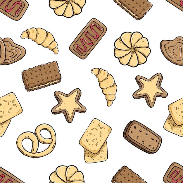 Leckere kekse in nahtlose muster Premium Vektoren