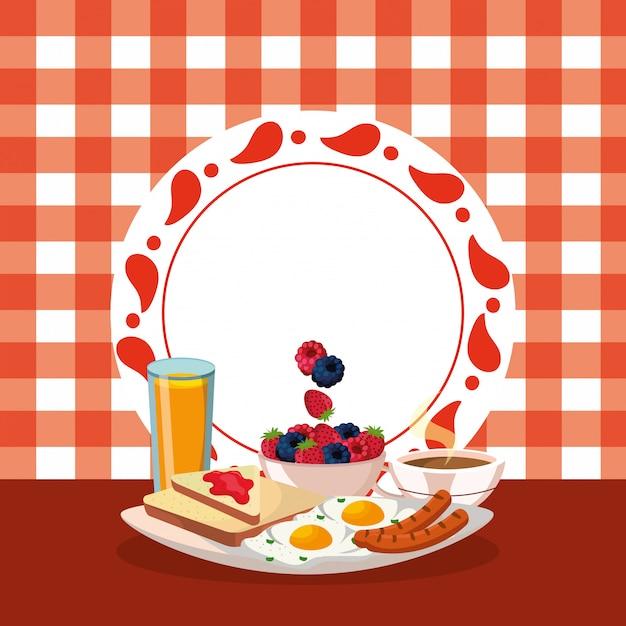 Leckere leckere frühstück cartoon Premium Vektoren