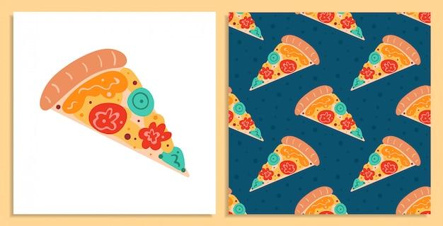 Leckere pizza. italienisches rezept. flacher cartoon, handgezeichnetes, nahtloses muster und kartensatz Premium Vektoren