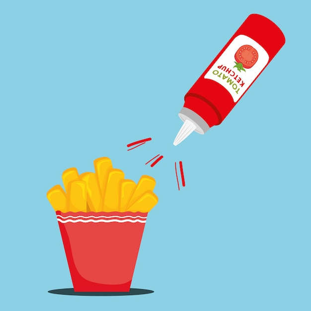 Leckere pommes frites mit ketchup Kostenlosen Vektoren