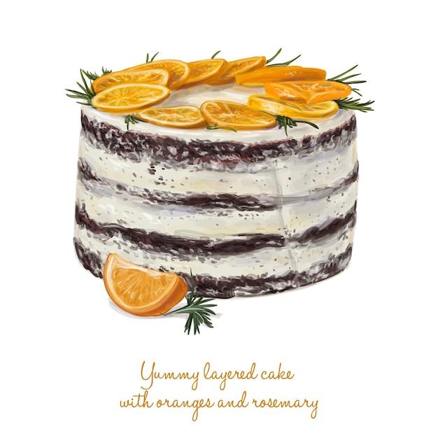 Leckerer kuchen mit orangen und rosmarin Premium Vektoren