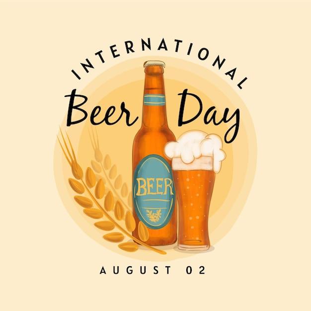 Leckeres bier in flasche und hopfenblättern Kostenlosen Vektoren