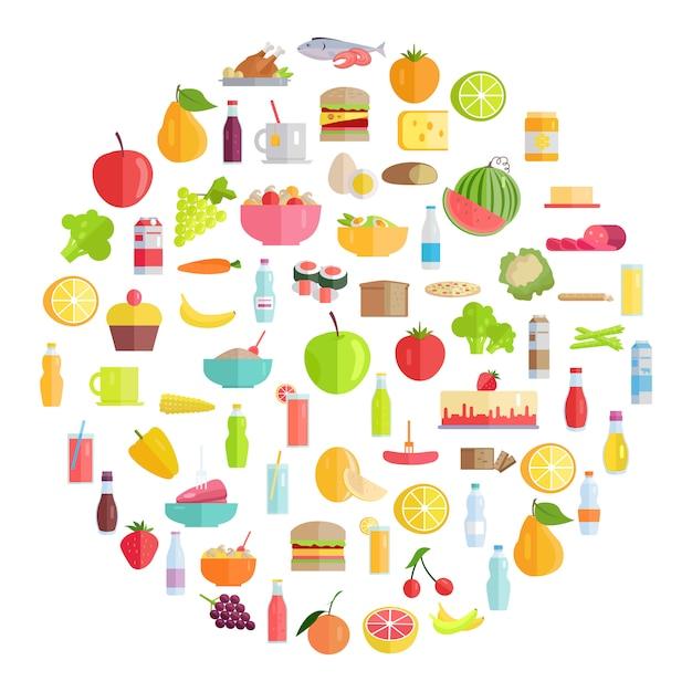 Leckeres essen, lebensmittel und erfrischende getränke Premium Vektoren