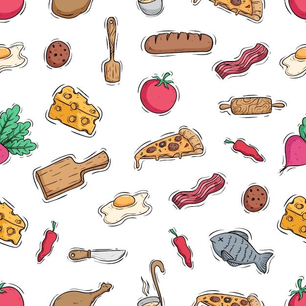 Leckeres essen mit küchenutensilien in nahtlose muster Premium Vektoren