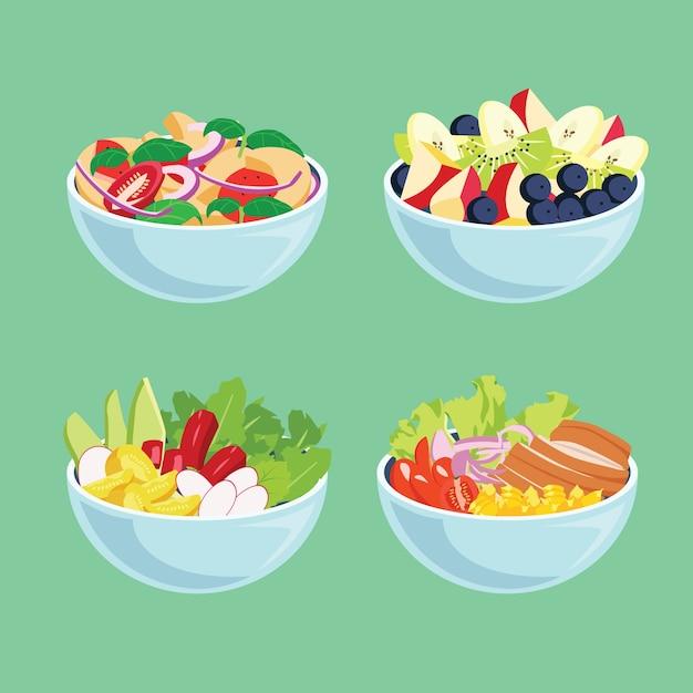 Leckeres frisches obst und salate in schalen Kostenlosen Vektoren