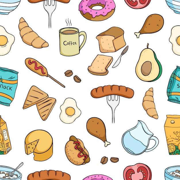 Leckeres frühstück essen nahtlose muster mit farbigen stil Premium Vektoren