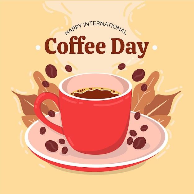 Leckeres kaffeegetränk und bohnen Premium Vektoren