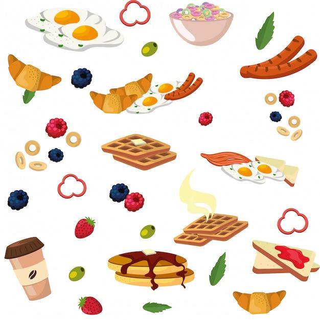 Leckeres leckeres frühstücksmenü Premium Vektoren