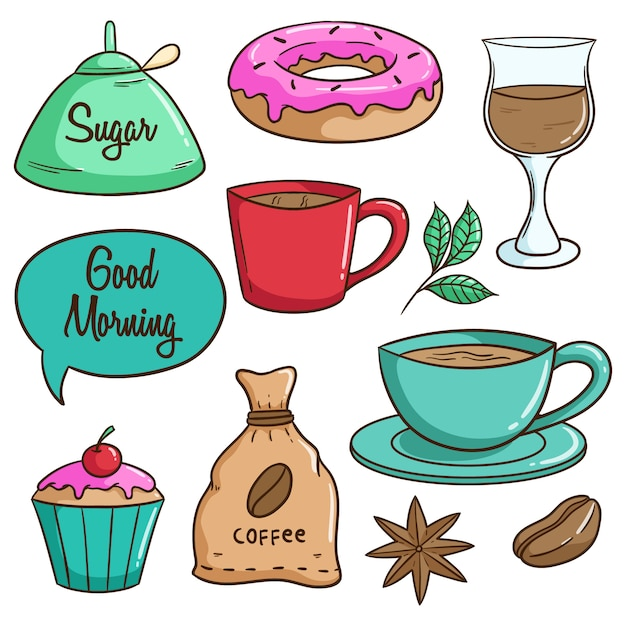 Leckeres mittagessen mit kaffee, donut und cupcake mit bunten doodle-stil Premium Vektoren