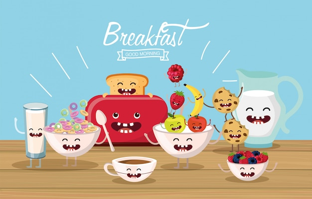 Leckeres und glückliches frühstück mit armen und beinen Premium Vektoren