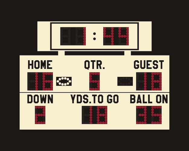 Led-anzeigetafelillustration des amerikanischen fußballs Premium Vektoren