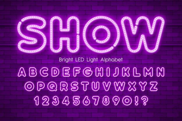 Led-licht 3d alphabet, extra leuchtender moderner typ. Premium Vektoren