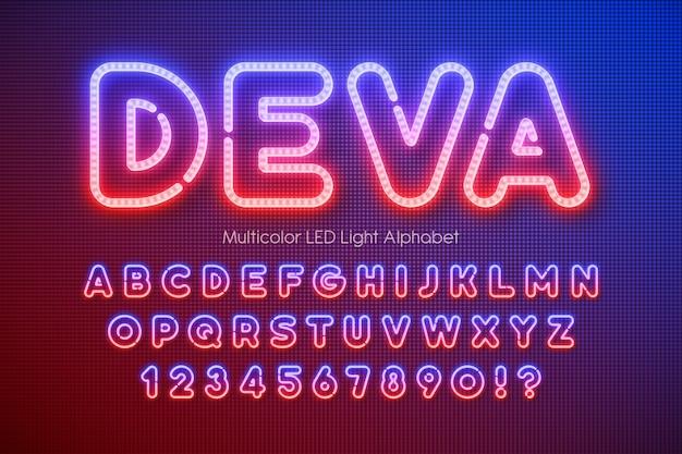 Led-licht extra leuchtendes alphabet Premium Vektoren