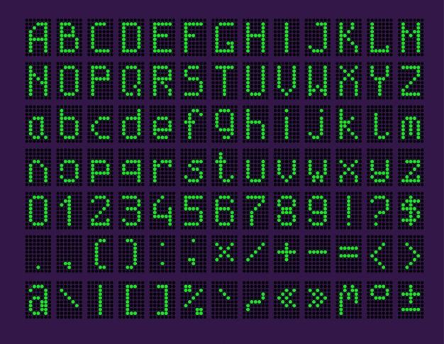 Led-panel mit alphabet und zahlen Kostenlosen Vektoren