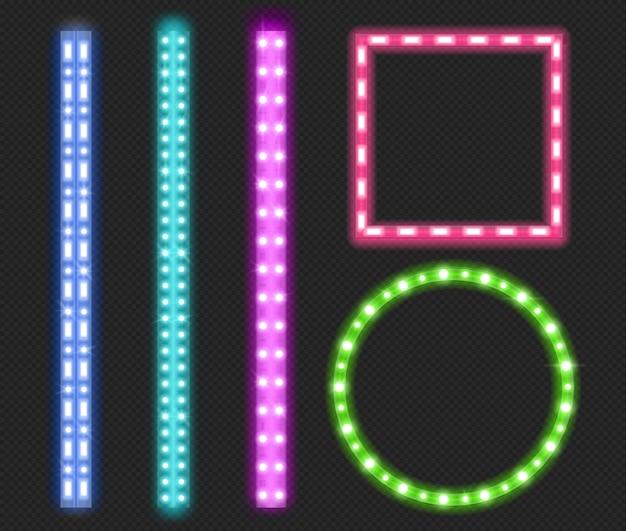 Led-streifen, neonlichtbänder, ränder und rahmen Kostenlosen Vektoren