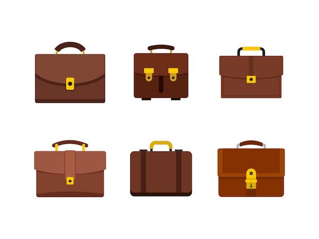 Lederhandtasche-icon-set. flacher satz der lederhandtaschenvektor-ikonensammlung lokalisiert Premium Vektoren