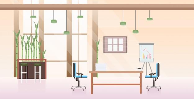 Leer keine menschen co-working-center-schrank modernen arbeitsplatz schreibtisch kreative büro interieur horizontal Premium Vektoren