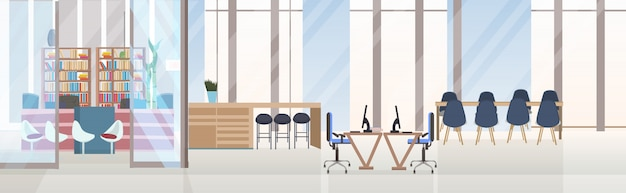 Leer keine menschen kreative co-working-center konferenz schulungsraum mit runden tisch arbeitsbereich kreative büro interieur horizontale banner Premium Vektoren