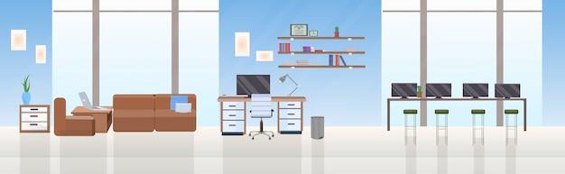 Leer keine menschen kreative zusammenarbeit zentrum offener raum zeitgenössischer arbeitsbereich mit möbeln modernes büro interieur flach horizontal Premium Vektoren