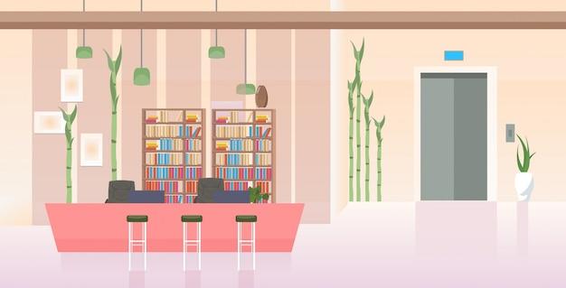 Leer keine menschen moderne bürohalle mit theke schreibtisch zeitgenössische lobby interieur horizontal Premium Vektoren
