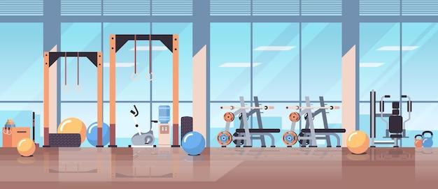 Leer keine menschen sport gym innenraum trainingsgeräte fitness-training gesunden lebensstil konzept Premium Vektoren