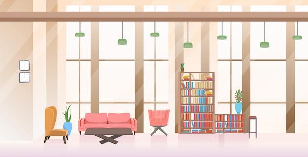 Leer keine menschen wartebereich lobby halle kreativbüro interieur horizontal Premium Vektoren