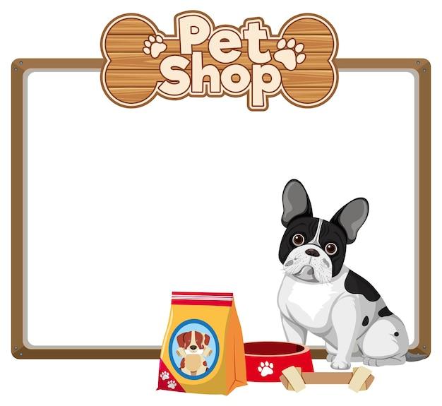 Leere banner mit niedlichem hunde- und tierhandlungslogo Premium Vektoren