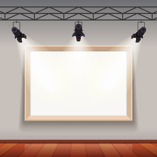 Leere bilderrahmen in kunstmuseum raumhalle Kostenlosen Vektoren