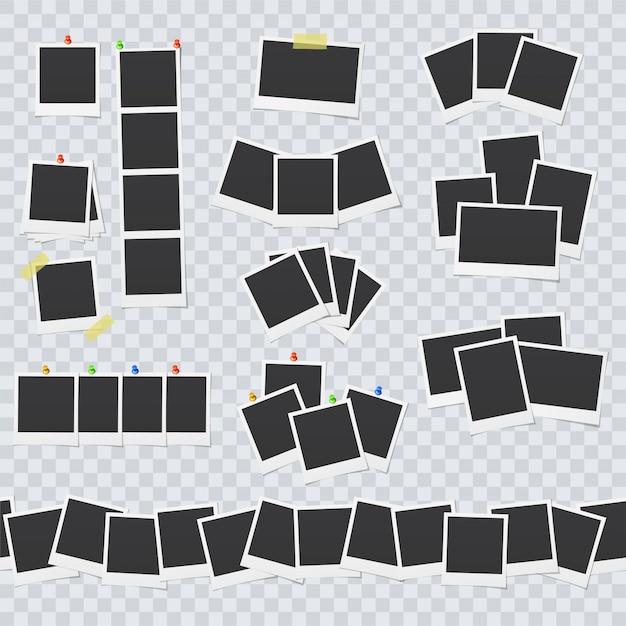 Leere bilderrahmen mit klebeband und stiften befestigt Premium Vektoren