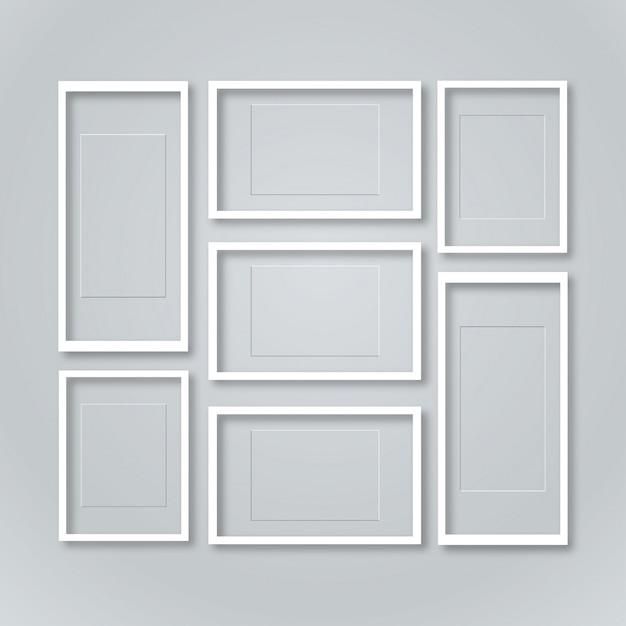 leere bilderrahmen vorlage gesetzt isoliert auf wand download der kostenlosen vektor. Black Bedroom Furniture Sets. Home Design Ideas