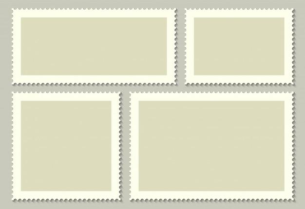 Leere briefmarken für post, postkarte. Premium Vektoren